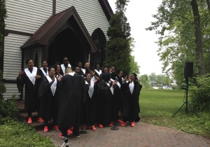 A choir volunteer to sing gospel songs along the route a race - it was amazing - so fun!