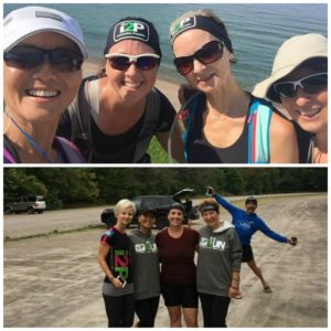 85km Lake Superior Gate to Gate Girls (top photo Lake Superior, bottom photo i2P run photo bombed by Ray